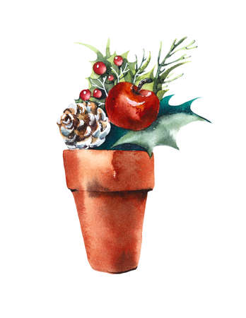 New Year s decor in flower pot. Watercolor hand drawn illustration