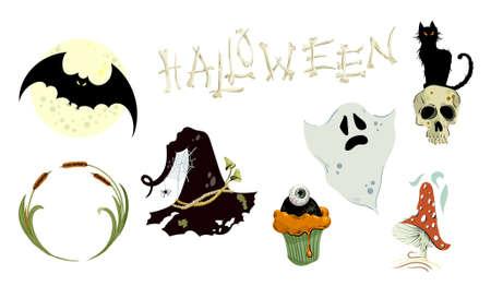 Set of halloween elements. Bright hand-drawn elements, mushroom, skull, hat witch, cake, reduction