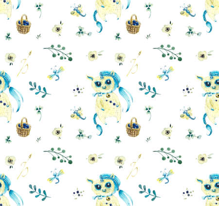 Blue unicorn walk in the forest. Seamless pattern. Watercolor hand drawing illustration.