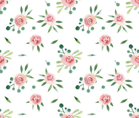 Pink roses seamless. Pattern from pink rose. Wedding drawings. White background. Watercolor hand drawn illustration. Standard-Bild - 133471691
