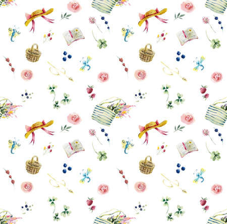 Walk in the forest. Seamless pattern. Watercolor hand drawing illustration.