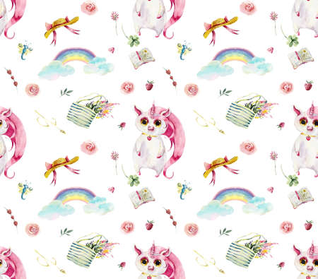 Pink unicorn walk in the forest. Seamless pattern. Watercolor hand drawing illustration.