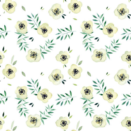 White flowers seamless. Pattern from pink rose. Wedding drawings. Watercolor hand drawn illustration. Standard-Bild - 133471740