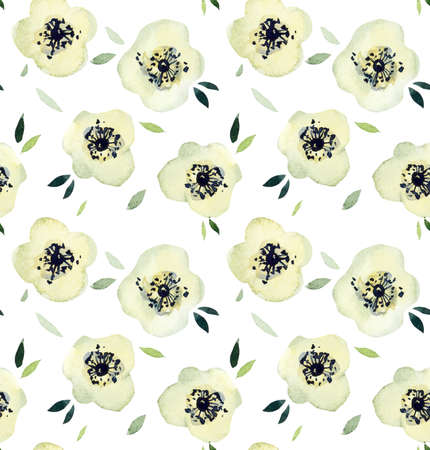 White flowers seamless. Pattern from pink rose. Wedding drawings. Watercolor hand drawn illustration. Standard-Bild - 133471743