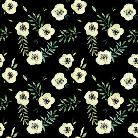White flowers seamless. Pattern from pink rose. Wedding drawings. Watercolor hand drawn illustration.