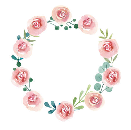 Frame from Pink roses. Watercolor hand drawn illustration. White background