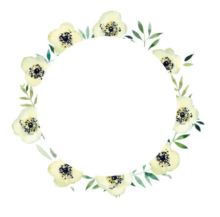 Frame from White flowers. Watercolor hand drawn illustration. White background