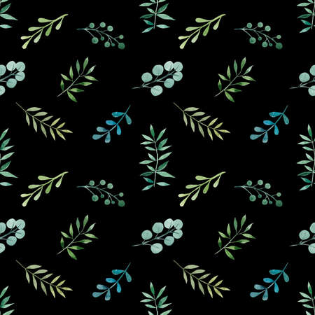 Seamless pattern from leaves. Watercolor hand drawn illustration. White background