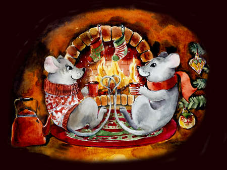 Two mice drink tea at New Year s fireplace. Watercolor hand drawn illustration Stock fotó