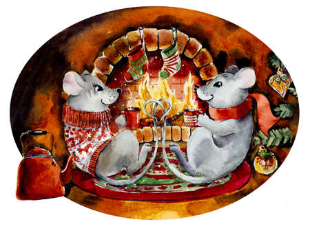 Two mice drink tea at New Year s fireplace. Watercolor hand drawn illustration Stock Photo