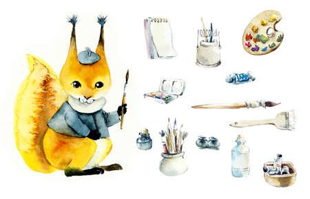 Squirrel artist. Watercolor hand drawn illustration Stockfoto - 131647719