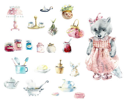 Cosy cute household items and utensils with girl-wolf. Watercolor hand drawn illustration