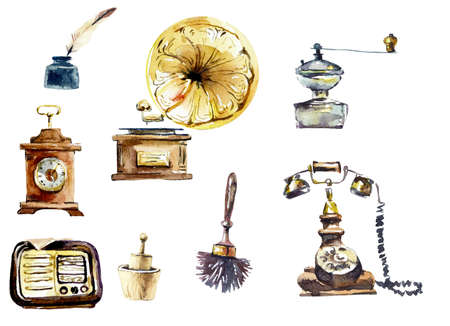 Ancient household things. Watercolor hand drawn illustration 写真素材