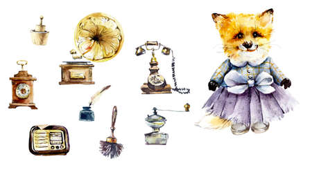 Ancient household things with girl-fox. Watercolor hand drawn illustration 写真素材