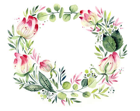 Frame from flowers. Watercolor hand drawn illustration. Фото со стока