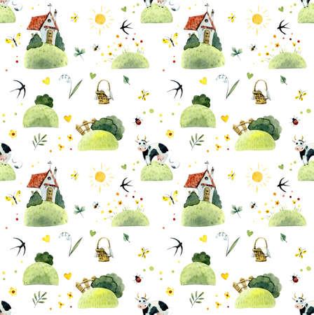 Seamless pattern walk on fields. Watercolor hand drawn illustrations Imagens
