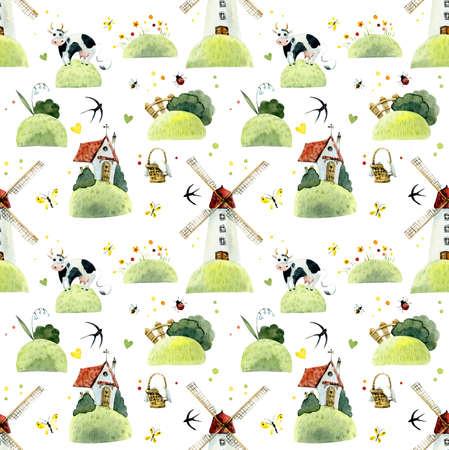 Seamless pattern walk on fields. Watercolor hand drawn illustrations Reklamní fotografie