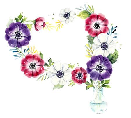 Bouquet of flowers anemone in transparent vase. Watercolor hand drawn illustration 版權商用圖片 - 131692555