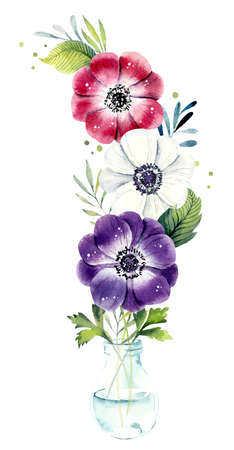 Pink, violet and white anemone in vase. Fancy flowers and leaves