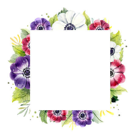 Frame from flowers anemone. Watercolor hand drawn illustration Standard-Bild - 133471920