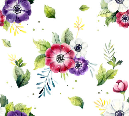 Seamless pattern from flowers anemone. Watercolor hand drawn illustration