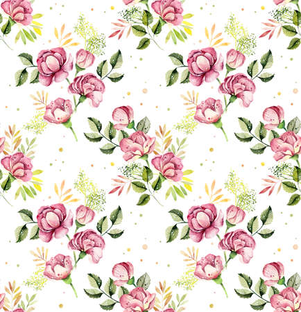 Watercolor seamless pattern with flowers and berries. Bright vintage floral background with blueberries and poppies Stock Photo - 133471975
