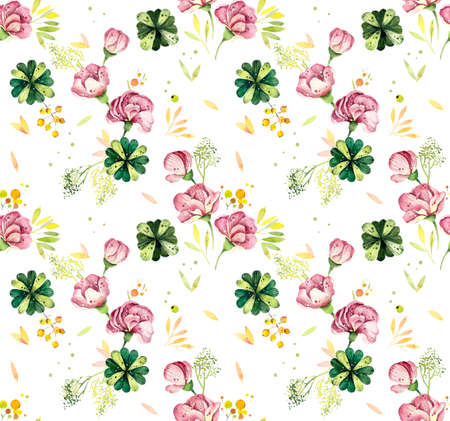 Watercolor seamless pattern with flowers and berries. Bright vintage floral background with blueberries and poppies Standard-Bild - 133471976