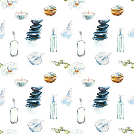 Seamless pattern with spa treatments. Set for SPA salon. Watercolor hand drawn illustration.