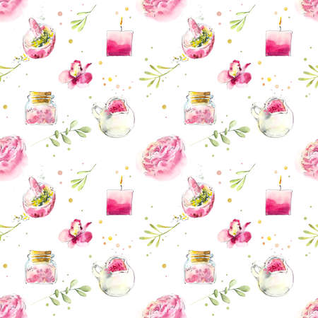 Seamless pattern with pink spa treatments. Set for SPA salon. Watercolor hand drawn illustration. Archivio Fotografico - 133471981