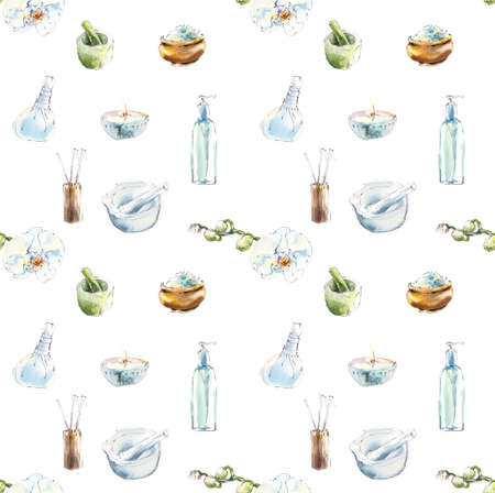 Seamless pattern with spa treatments. Set for SPA salon. Watercolor hand drawn illustration. Stock Illustration - 133471984