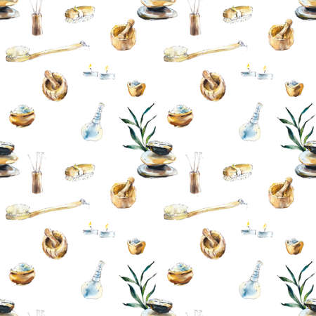 Seamless pattern with spa treatments. Set for SPA salon. Watercolor hand drawn illustration. Archivio Fotografico - 133471986