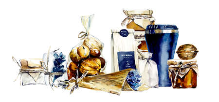 Craft set for a stylish gift. Watercolor hand drawn illustration Stock Illustration - 133472003