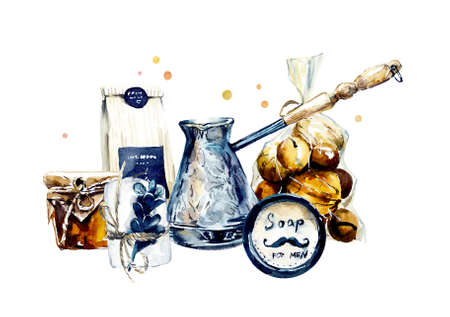 Craft set for a stylish gift. Watercolor hand drawn illustration