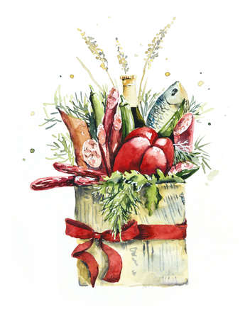 Bouquet with food. Greeting card. Watercolor hand drawn illustration