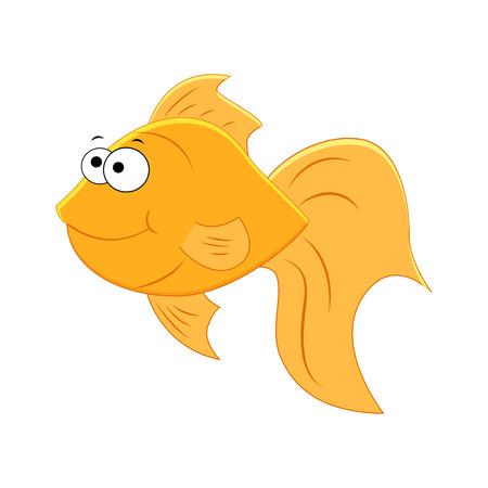 Cute cartoon gold fish isolated on white background. Aquarium fish. Illustration