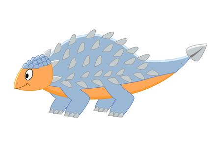 Cute cartoon ankylosaurus illustration. Illustration