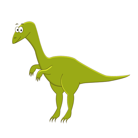 Cute cartoon compsognathus illustration of dinosaur.