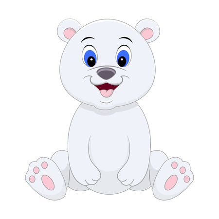 Cute cartoon polar bear. Vector illustration isolated on white background.