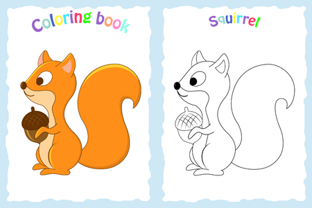 Coloring book page for preschool children with colorful squirrel and sketch to color.