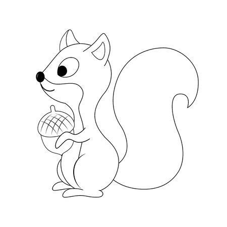 Ardilla de dibujos animados divertidos incoloro con tuerca en su mano ilustración vectorial. Página para colorear, educación preescolar, animales del bosque.
