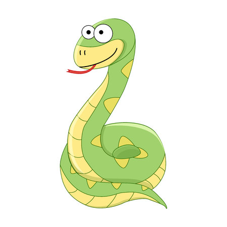 Cute funny cartoon snake. Vector illustration. Cartoon reptile. Vector reptile isolated on white background.