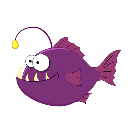 Funny cartoon angler fish. Vector illustration Isolated on white background. Sea animals. Sea fish