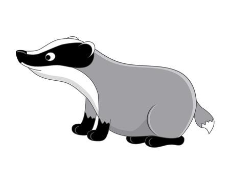 Tejón de divertidos dibujos animados. Ilustración vectorial Aislado sobre fondo blanco Animales del bosque. Animales del bosque.