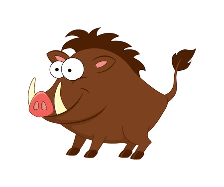 Cute cartoon boar. Vector illustration isolated on white background. Forest animals. Wild animals.