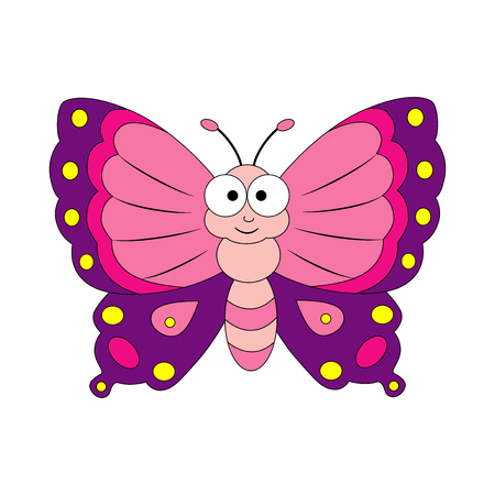 Cute cartoon butterfly. Vector illustration isolated on white background