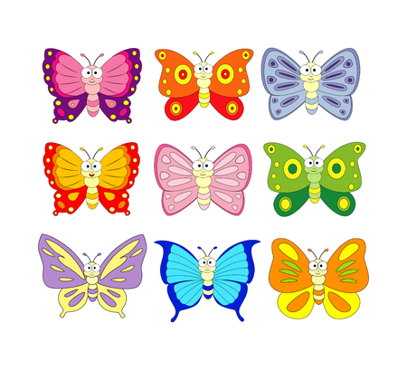Set of 9 cartoon butterfly. Vector illustration isolation on white background.