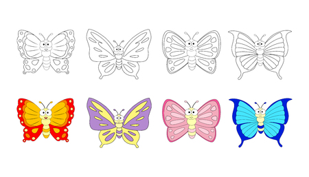 Coloring book page for preschool children with colorful butterflies  and sketch to color.  Vector butterfly  illustration isolated on white background.