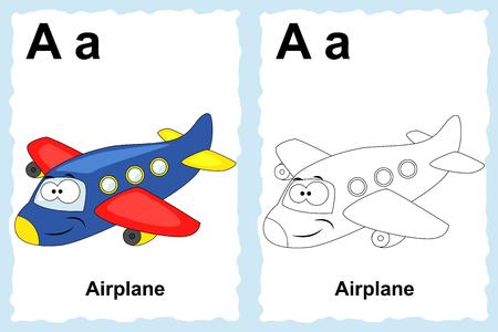 Página del libro para colorear alfabeto con imágenes prediseñadas de contorno para colorear. Carta A. Avión. Vehículos de vectores. Ilustración de vector
