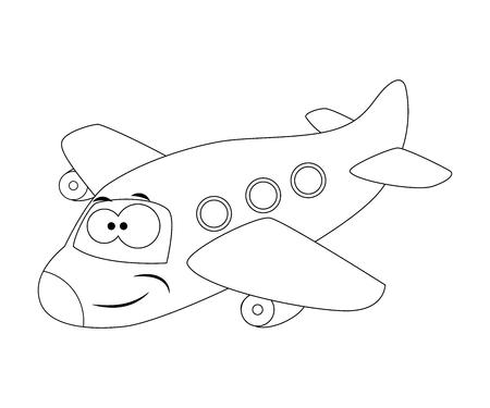 Colorless funny cartoon airplane. Vector illustration. Coloring page Preschool education
