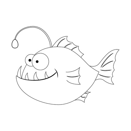 Colorless funny cartoon  anglerfish. Cartoon fish. Vector illustration. Coloring page. Preschool education